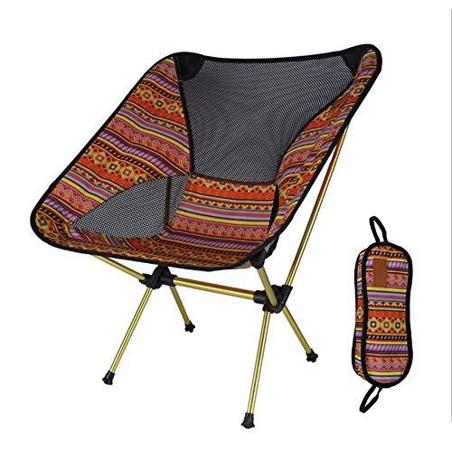OUTAD - Silla portátil de aleación de aluminio para exteriores, ligera, plegable, para camping, pesca, viajes, con respaldo y bolsa de transporte