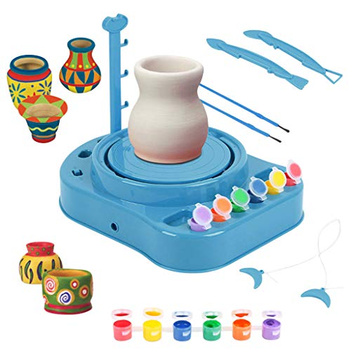 AutumnFall Kids Bginners Pottery Wheel Kit with Paints and Tools DIY Toy Best Gift Electric Toys (Blue)