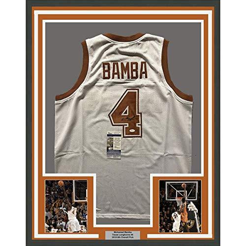 Framed Autographed/Signed Mohamed Mo Bamba 33x42 Texas Longhorns White College Basketball Jersey JSA COA