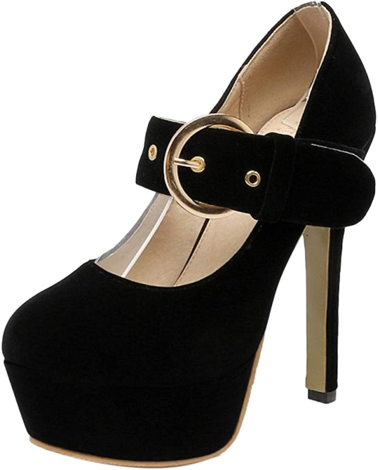 RizaBina Women Buckle Strap Pumps