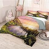 HELLOLEON Paisaje Pure Hotel Ropa de cama de lujo Tropical India Goa Arambol Beach Sweet Lake con bosque árboles paisajísticos obras de arte de poliéster, suave y transpirable (Queen) Multicolor