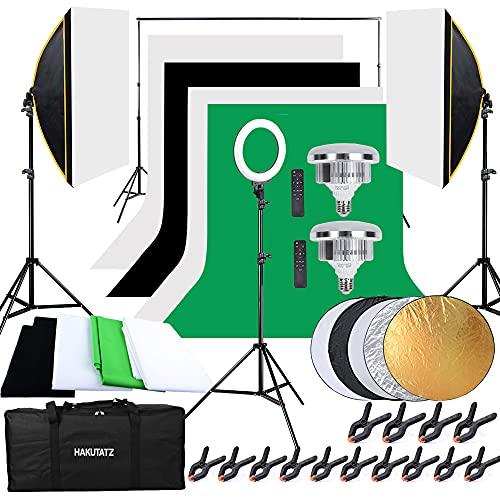 HAKUTATZ® Profi Fotostudio Set Softbox Ringlicht Greenscreen mit Ständer Studioleuchte Set Hintergrundsystem