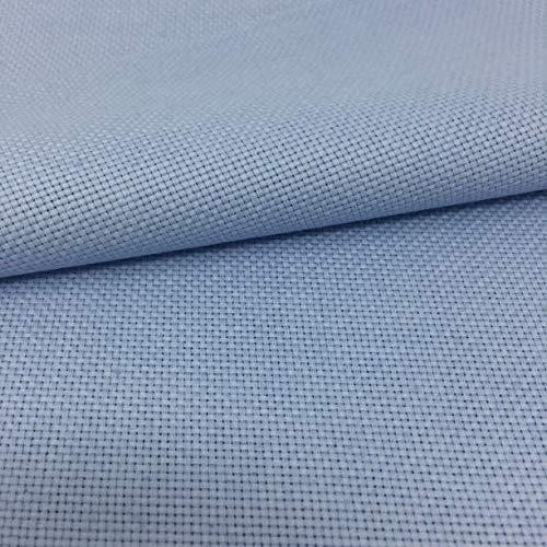 Delicatela Kreuzstich-Stoff, 75 cm x 50 cm, 5,5 Stiche/cm – 14 Counts/Zoll – 100 % Baumwolle – Farbe wählbar 75cm x 50cm hellblau