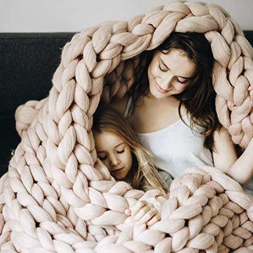 Manta de Punto Gruesa, Lana de Hilo, Muy Grande Tejida a Mano Manta para Mascotas Cama sofá Yoga Alfombra Khaki 80×100cm