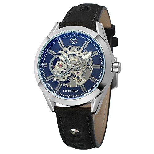FORSINING Relojes de cuero automáticos de Steampunk de los hombres expuestos mecánicos de la vendimia del esqueleto masculino antiguo