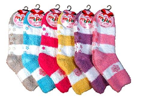 Mamia 6 Pairs Women's Cozy Slipper Socks Fuzzy Sock Multi Color