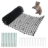 Prickle Strip Dig Stopper 200 x 28cm Cat Scat Mat with Spikes Cat Repellent Mat with 10 Garden Staples and 10 Twist Tie for Dogs Cats Fox Wild Animal Outdoor Garden (1Pcs 200 x 28cm)