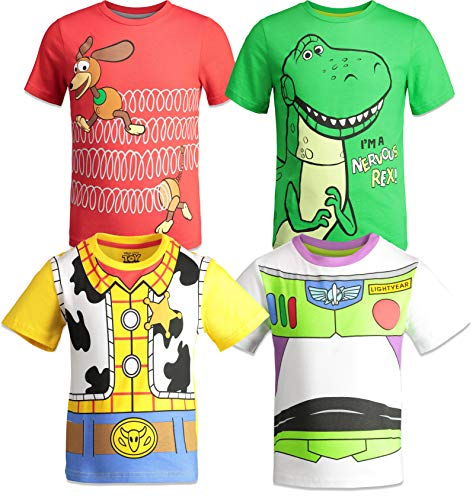 Disney Pixar Toy Story Big Boys 4 Pack T-Shirts Woody Buzz Lightyear Rex Slinky Dog 14