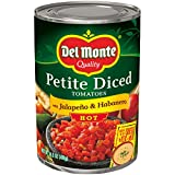 Del Monte Petite Canned Hot Diced Tomatoes with Jalapeno and Habanero, 14.5 Ounce (Pack of 12)