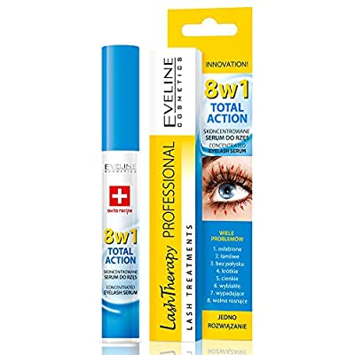 Eveline Cosmetics Eyelash Growth Serum 8in1   10 ML   Strengthening and Thickening Long Lash Conditioner   Argan Oil and Hyaluronic Acid   Long Lashes Booster by Eveline Cosmetics