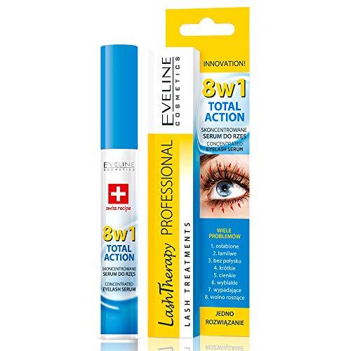 Eveline Cosmetics Wimpernserum für Wimpernverlängerung 8 in 1   10 ML   Schnell Wachstum   Ideale Grundierung für unter die Wimperntusche   Innovative Formel   Dermatologisch Getestet