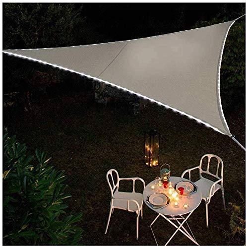 SFSGH Toldo Triángulo Impermeable con Luces LED, Terraza de protección Solar, Toldo de Vela Triángulo de Vela de Sol Balcón Toldos de Bloque de 95% UV Tela Oxford Repelente al Agua, Gris