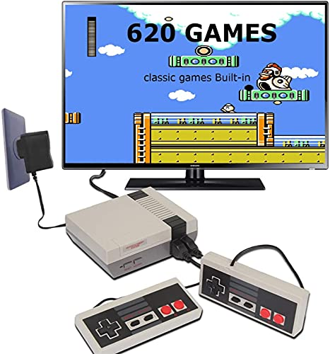 Retro Game Console, Classic Handheld Video Game Console Built-in 620 Games with Classic Controllers, TV Video Games Console Player for Kids, Adult, Birthday Gift