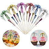 Palm Tree Picks Cocktail Decorations for Drinks, Hoiny 100 Pack Cocktail Stick Decorations 6 Colours Palm Tree Picks, Cocktail <span class='highlight'><span class='highlight'>Accessories</span></span> for Beach Birthday Wedding Celebration Party