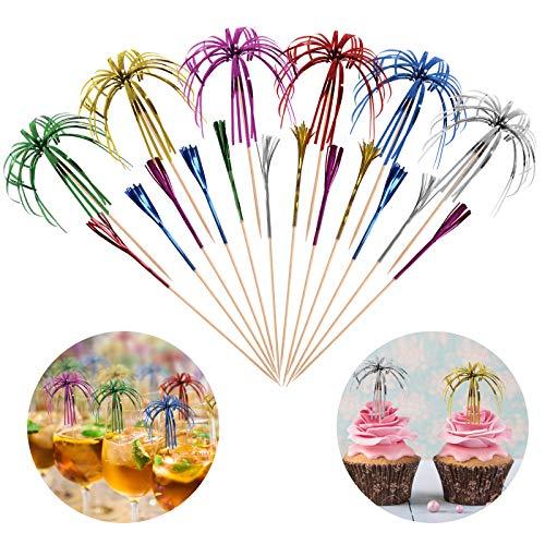 Hoiny 100 Stück Cocktail Picks Feuerwerk Sticks, Feuerwerk Sticks Cocktail Deko Benutzt für Cocktail Party Dekorationen, Bunte Frucht Zahnstocher Palme Cocktail Picks, 15 cm