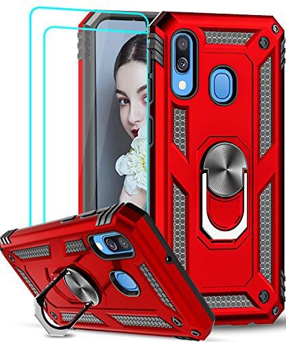 LeYi für Samsung Galaxy A40 Hülle mit Panzerglas Schutzfolie(2 Stück),360 Grad Ring Halter Handy Hüllen TPU Stoßdämpfung Cover Magnetische Case Schutzhülle für Handyhülle Samsung Galaxy A40 Rot