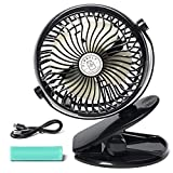 Clip Fan - USB Mini Fan - 3 Speeds - 3600 mAh Rechargeable Battery Operated Clip On Fan - 5in Personal Fan - Portable Fan - Stroller Fan Clip On - USB Mini Desk Fan/Bed Fan - 360 degree rotation