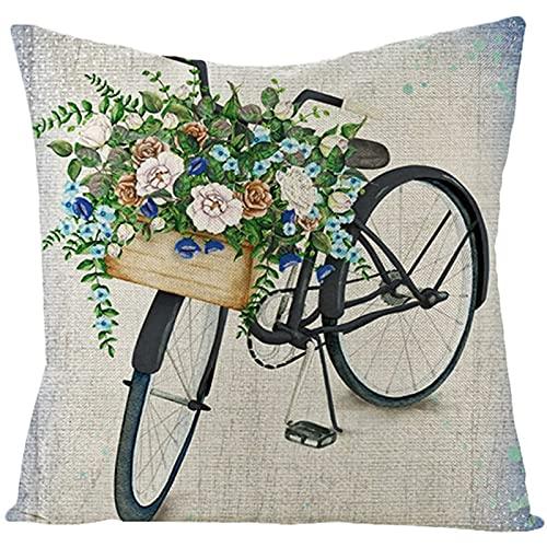 Agoble Cuscini Decorativi Letto Verde Grigio Bicicletta e Fiori, Biancheria Copricuscini Letto 45x45cm/18x18 Inches