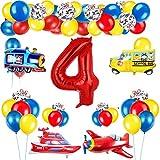 Decoración de globos de cumpleaños de tráfico para niños, globo de número rojo gigante [4], tema de tráfico, decoración de globos de feliz cumpleaños, avión, tren, autobús, yate