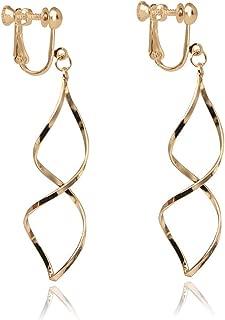 Gold Plated Spiral Twist Drop Clip on Earrings Twist Wave Dangle Tassel Fashion Jewelry for Women Lady