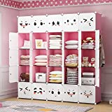GEORGE&DANIS Portable Closet Wardrobe Kids Dresser Armoire Storage Cube Organizer for Teenagers Plastic Dresser, Pink, 14 inches Depth, 5x5 Tiers