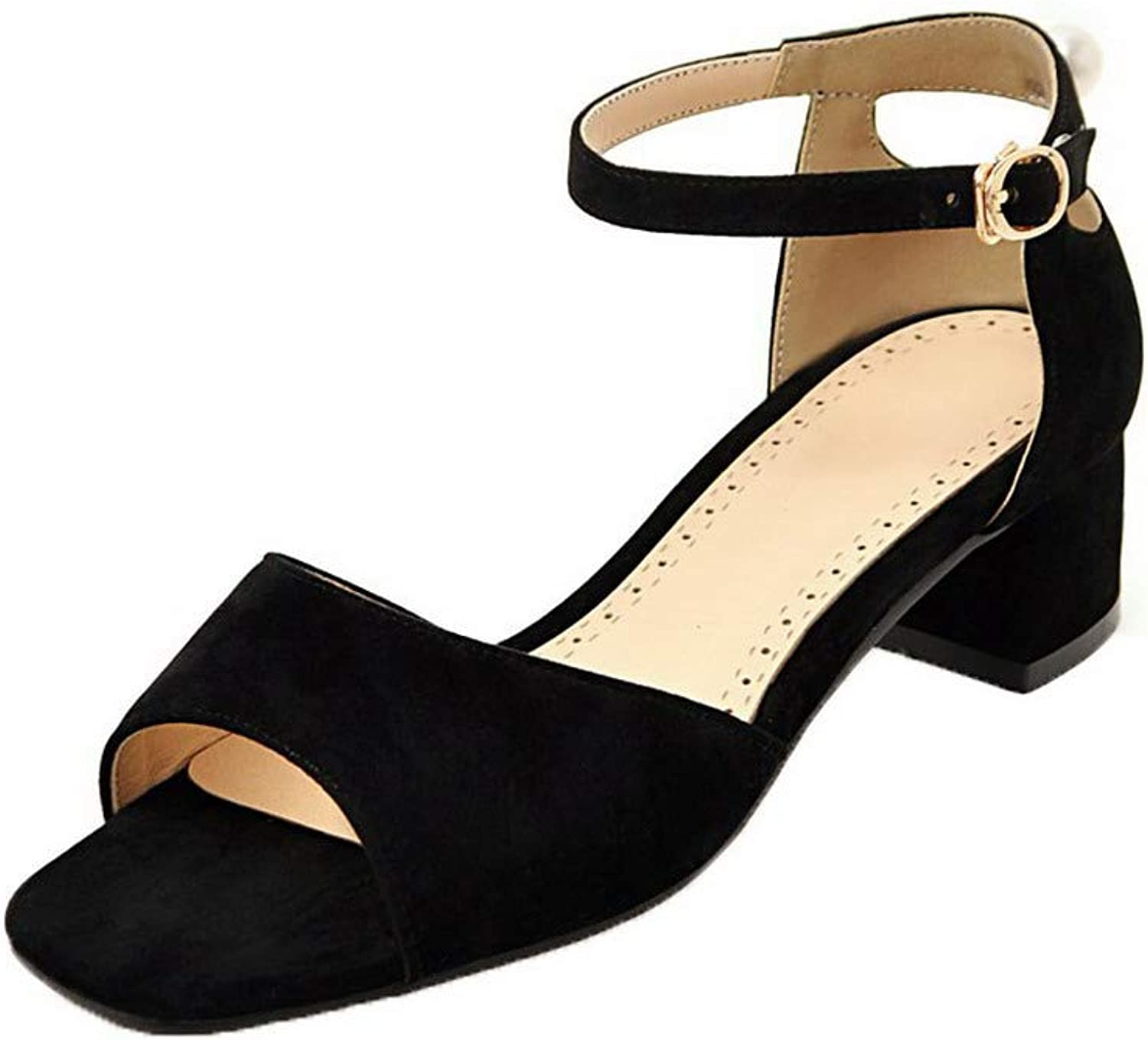 AmoonyFashion Women's Frosted Open-Toe Low-Heels Buckle Solid Sandals, BUTLT007540
