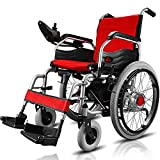 Lightweight Folding Electric Wheelchair, Deluxe Fold Foldable Power Compact Mobility Aid Wheel Chair, 12ah/20ah Lithium Battery, Longest Driving Range Adults Power Wheelchair / 20A