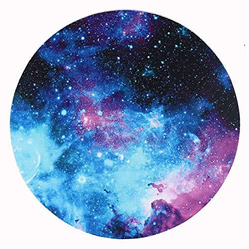 AOKSUNOVA Alfombrilla para ratón pequeña Redonda, diseño de Galaxia (20 x 20 cm)