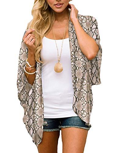 Women's Boho Beach Kimono Cover Ups Tops Animal Snakeskin Print Chiffon Sheer Thin Summer Cardigans (Medium)