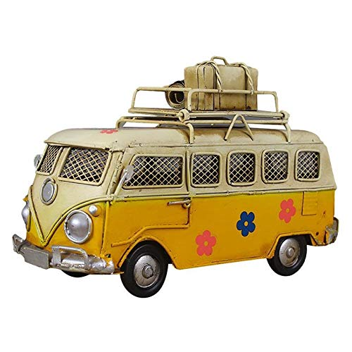 GJRFYJ Forma de Hierro Hucha autobús de la Vendimia Caja de Moneda Nostálgico Infancia Memoria Metal Arte del hogar del Regalo for los niños de los niños (Amarillo) (Color : A)