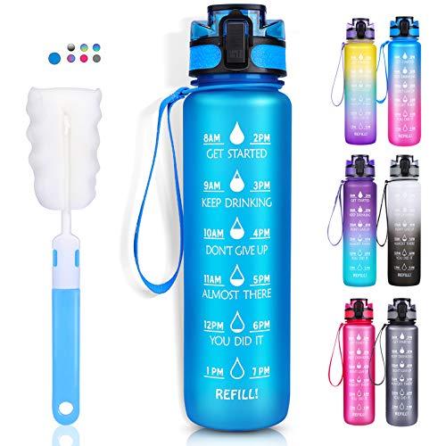 LEHOM Trinkflasche 1L, Wasserflasche Auslaufsicher, Sportflasche BPA-Frei, Tritan Fahrradflasche mit Zeitmarkierung Blau für Camping Freien, Outdoor, Yoga, Gym, Schule, Fahrrad, Uni