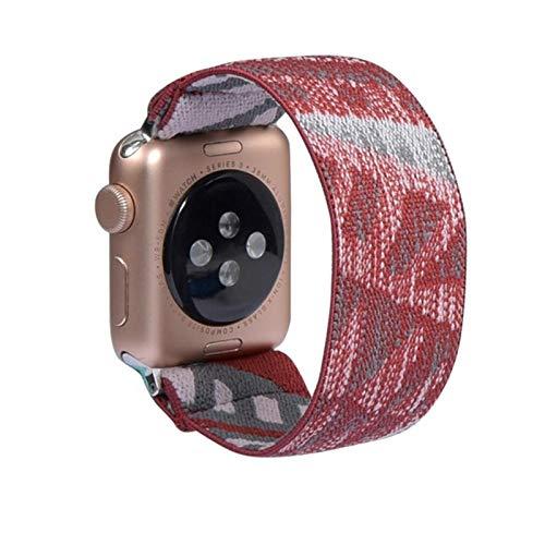 Banda elástica de nailon para Apple Watch, pulsera con correa estilo bohemia para iWatch SE / 6/5/4/3/2/1-rojo gris, 38 mm 40 mm ML