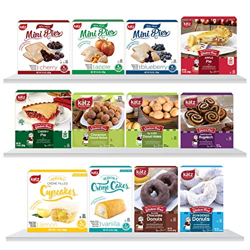 Katz Gluten Free Top 12 Best Sellers Variety Pack | Donuts & Donut Holes, Mini & Personal Fruit Pies, Crème Cakes & Cupcakes, Rugelach | Dairy Free, Nut Free, Soy Free, Gluten Free (12 Packs Total)