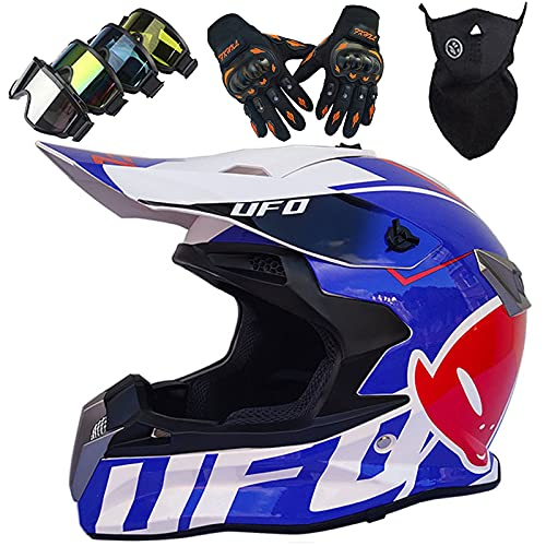 Cascos de Motocross Niños Adultos, Casco de MTB de Integrales,Set de Cascos Moto Downhill Todoterreno para Hombre y Mujer con Gafas Guantes Máscara