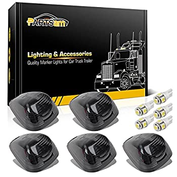 Partsam 5X Black Smoke Lens Cab Roof Marker Running Lamps w/White LED Lights Compatible with Ford F150 F250 F350 F450 F550 F650 F750 E150 E250 E350 E450 1999-2016 Super Duty Pickup Trucks