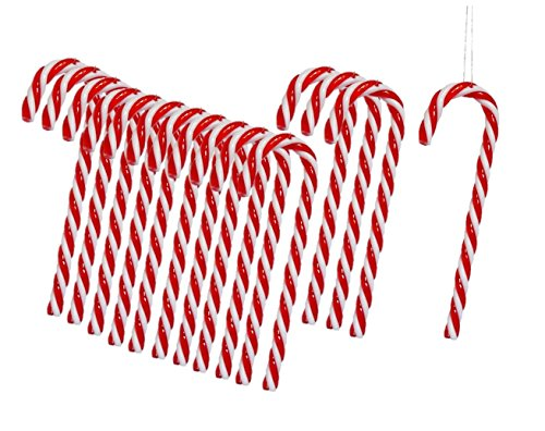 Geschenkestadl Zuckerstangen zum Hängen Rot Weiß 13cm Baumschmuck Weihnachten Anhänger Landhaus (30 Stück)
