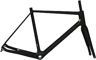 flyxii Full Carbon Toray Matt Cyclocross Bike Frameset Disc Brake BB30 Frame 52cm 12 142mm Thru Axle + Bicycle Fork 15 100mm Thru Axle