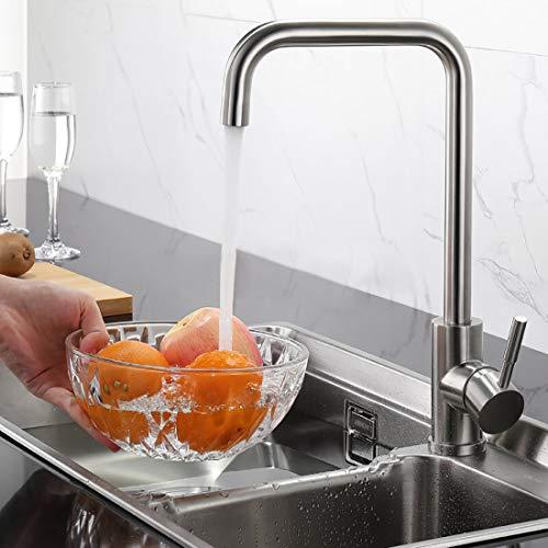 WOOHSE 360° Drehbar Wasserhahn Küche, Küchenarmatur Edelstahl Spültischarmatur mit hoher Auslauf Einhebelmischer Spültisch Armatur Spülbecken Mischbatterie Gebürsteter Nickel