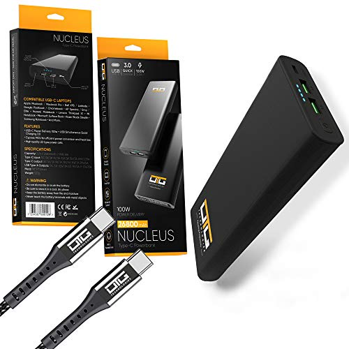 NUCLEUS 26,800 mAh Power Bank, OTG Technologies, with 100 watt Power Delivery & Quick Charge 3.0 Technology. Power your Laptop, Mobile phone and MP3 player On The Go; Compatible with Nintendo Switch.