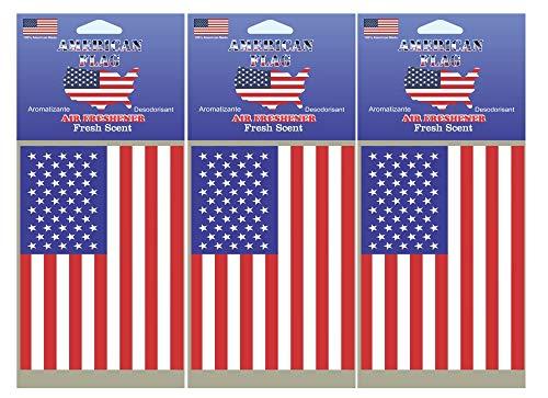 u a a auto air fresheners USA American Flag Design Air Freshener Fresh Scent Scented 3 Pack