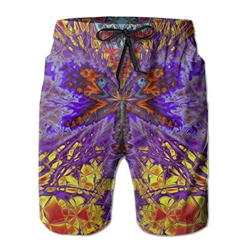 wwoman Herren Rot Gelb Blau Firefly Lässig Schnell Trocknend Strand Shorts Taschen Badehose Kurze Hose XL