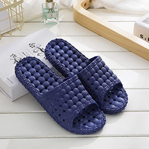 JFHZC Zapatos de baño,Sandalias y Zapatillas de Masaje Huecas para Hombres y Mujeres, Zapatillas de baño con Fugas en el hogar para Parejas en Interiores-Navy_Blue_40-41