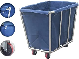 JCY Laundry Basket, Laundry Cart, Mobile Room Cleaning, Commercial Hotel Room Trolley, 90 X 65 X 80 cm (Color : Blue)
