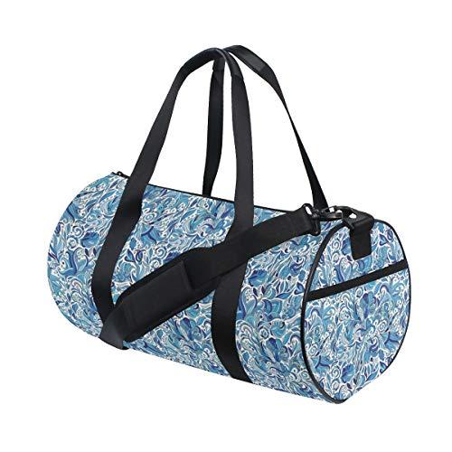 ZOMOY Sporttasche,Naher Osten Natur Blumendruck,Neue Bedruckte Eimer Sporttasche Fitness Taschen Reisetasche Gepäck Leinwand Handtasche