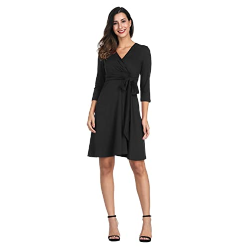 acf137927 Akivide Womens A Line Casual V Neck Swing Wrap Dress Pleated