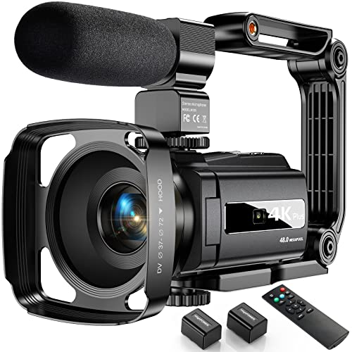 4K Video Camera Camcorder 48MP 60FPS Ultra HD Video Camera with WiFi Vlogging Camera for YouTube 16X Digital Video Camera with Microphone 6-Axis Anti-Shake IR Night Vision Recorder (4K Plus Version)