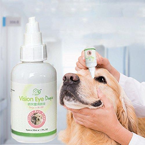 TOPmountain Haustier-Augen-Wäsche Augentropfen für Hunde und Katzen Lindert Augenrötung und Irritationen von Allergien Tear Stain Cleaner