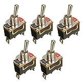 5pcs / Set Interruptor de 12V 15A Pesada Rocker Toggle Flick en el salpicadero/Off luz del Coche de Metal SPST 2 Clavijas