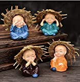 The Package Contains:- 4 Cute Buddha Monk Set. This buddah figure is having detailed hand work, made of polyresin material and have beautiful hand work of skilled indian artist Ideal for Car dashboard, show cases in homes or children room/table decor...