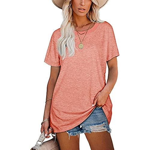 Mayntop Camiseta para mujer de verano con estampado de arco iris, estampado de leopardo, manga corta, blusa suelta con cuello en O, L-rosa, 44